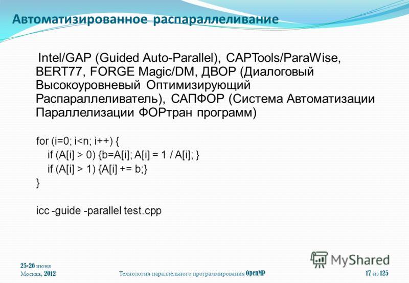 25-26 июня Москва, 2012 Технология параллельного программирования OpenMP 17 из 125 Intel/GAP (Guided Auto-Parallel), CAPTools/ParaWise, BERT77, FORGE Magic/DM, ДВОР (Диалоговый Высокоуровневый Оптимизирующий Распараллеливатель), САПФОР (Система Автом