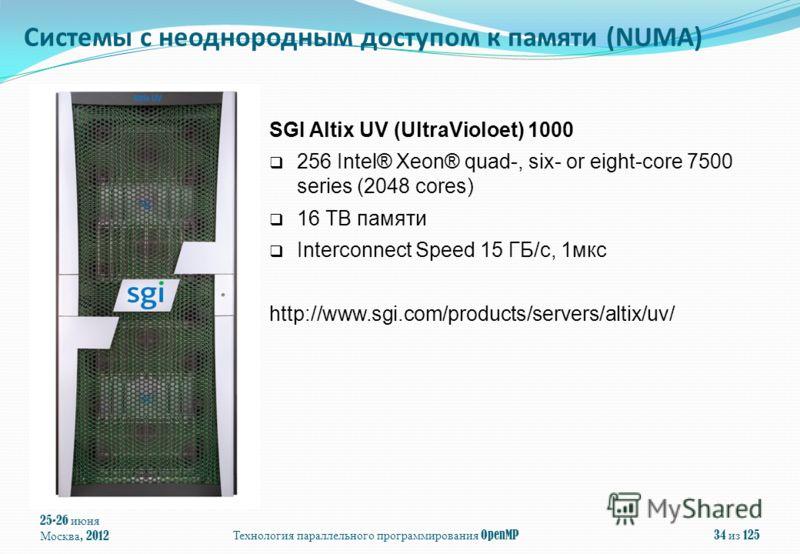 25-26 июня Москва, 2012Технология параллельного программирования OpenMP34 из 125 SGI Altix UV (UltraVioloet) 1000 256 Intel® Xeon® quad-, six- or eight-core 7500 series (2048 cores) 16 TB памяти Interconnect Speed 15 ГБ/с, 1мкс http://www.sgi.com/pro