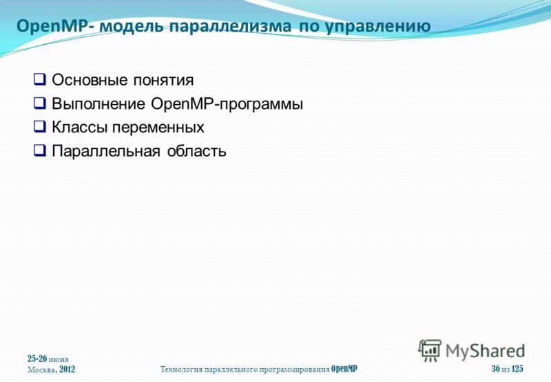 25-26 июня Москва, 2012Технология параллельного программирования OpenMP36 из 125 Основные понятия Выполнение OpenMP-программы Классы переменных Параллельная область OpenMP- модель параллелизма по управлению