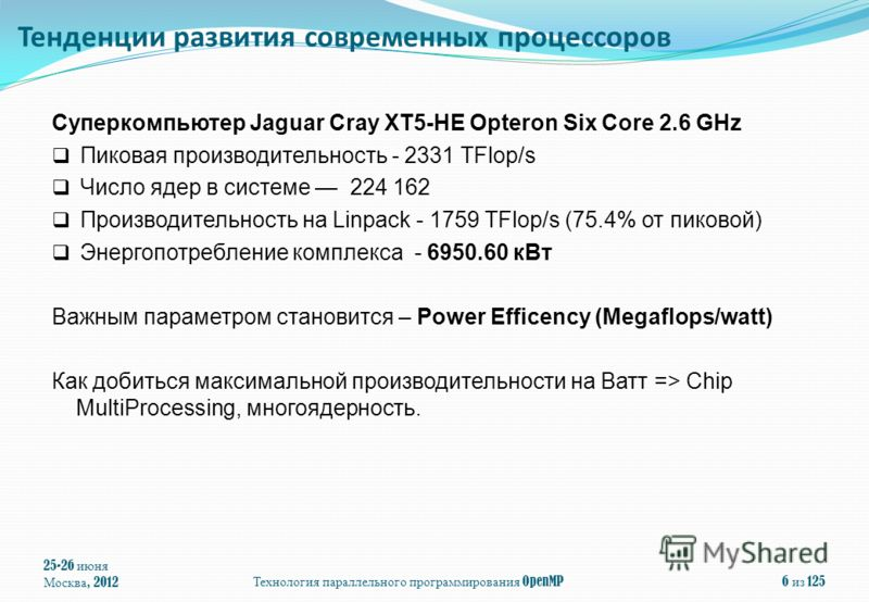 25-26 июня Москва, 2012 Технология параллельного программирования OpenMP 6 из 125 Суперкомпьютер Jaguar Cray XT5-HE Opteron Six Core 2.6 GHz Пиковая производительность - 2331 TFlop/s Число ядер в системе 224 162 Производительность на Linpack - 1759 T