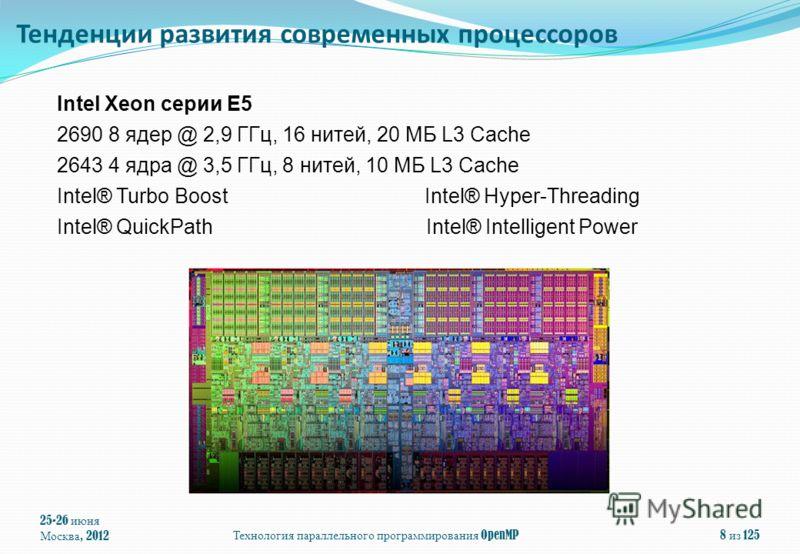 25-26 июня Москва, 2012 Технология параллельного программирования OpenMP 8 из 125 Intel Xeon серии E5 2690 8 ядер @ 2,9 ГГц, 16 нитей, 20 МБ L3 Cache 2643 4 ядра @ 3,5 ГГц, 8 нитей, 10 МБ L3 Cache Intel® Turbo Boost Intel® Hyper-Threading Intel® Quic