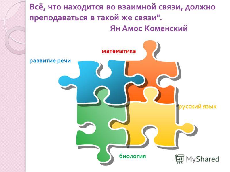русский язык математика биология развитие речи Всё, что находится во взаимной связи, должно преподаваться в такой же связи . Ян Амос Коменский