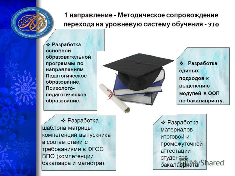 1 направление - Методическое сопровождение перехода на уровневую систему обучения - это Разработка основной образовательной программы по направлениям Педагогическое образование, Психолого- педагогическое образование. шаблона матрицы компетенций выпус
