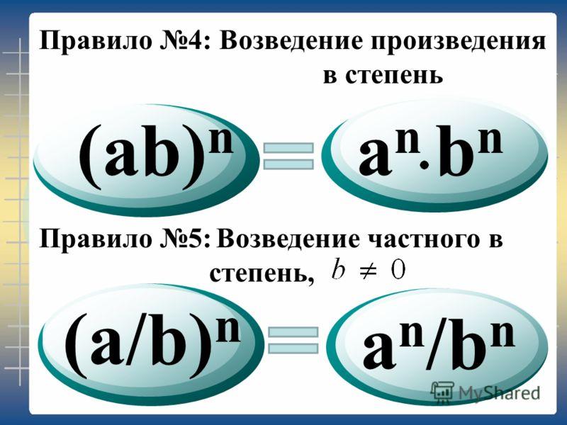 (ab) n (a/b) n a n /b n a n b n Правило 4:Возведение произведения в степень Правило 5: Возведение частного в степень,