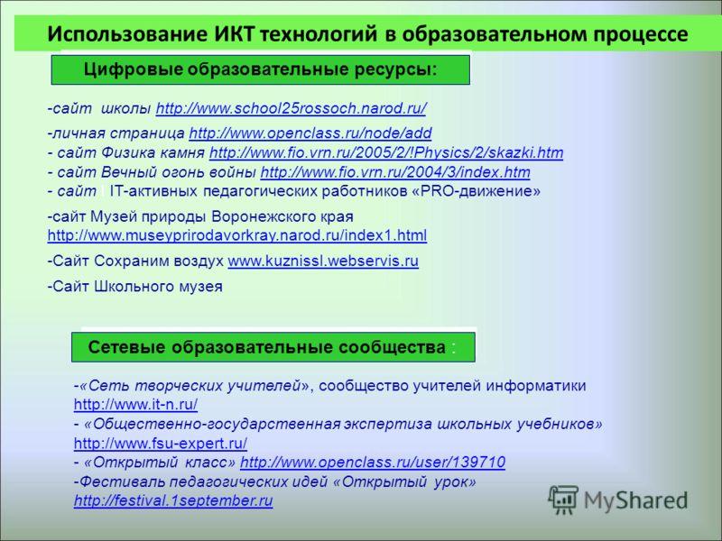Использование ИКТ технологий в образовательном процессе Цифровые образовательные ресурсы: Сетевые образовательные сообщества : -сайт школы http://www.school25rossoch.narod.ru/http://www.school25rossoch.narod.ru/ -личная страница http://www.openclass.