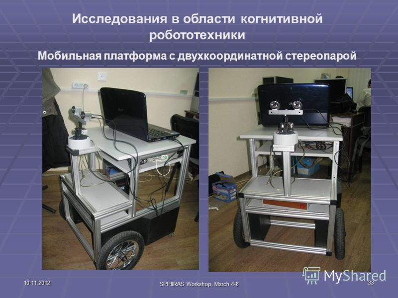 10.11.2012 SPPIIRAS Workshop, March 4-8 33 Исследования в области когнитивной робототехники Мобильная платформа с двухкоординатной стереопарой