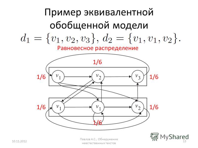 Пример эквивалентной обобщенной модели 10.11.2012 Павлов А.С., Обнаружение неестественных текстов 13 1/6 Равновесное распределение