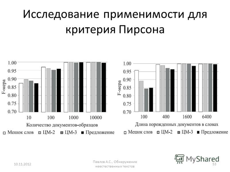 Исследование применимости для критерия Пирсона 10.11.2012 Павлов А.С., Обнаружение неестественных текстов 53