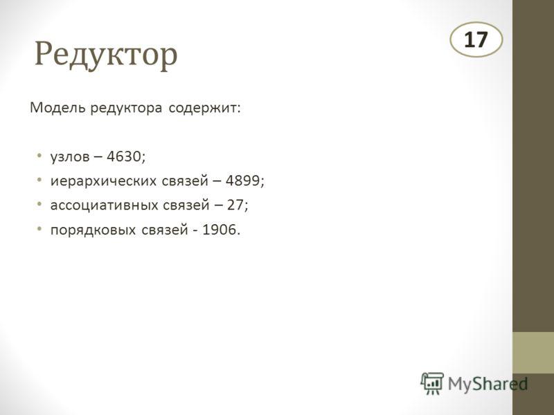 Редуктор Модель редуктора содержит: узлов – 4630; иерархических связей – 4899; ассоциативных связей – 27; порядковых связей - 1906. 17