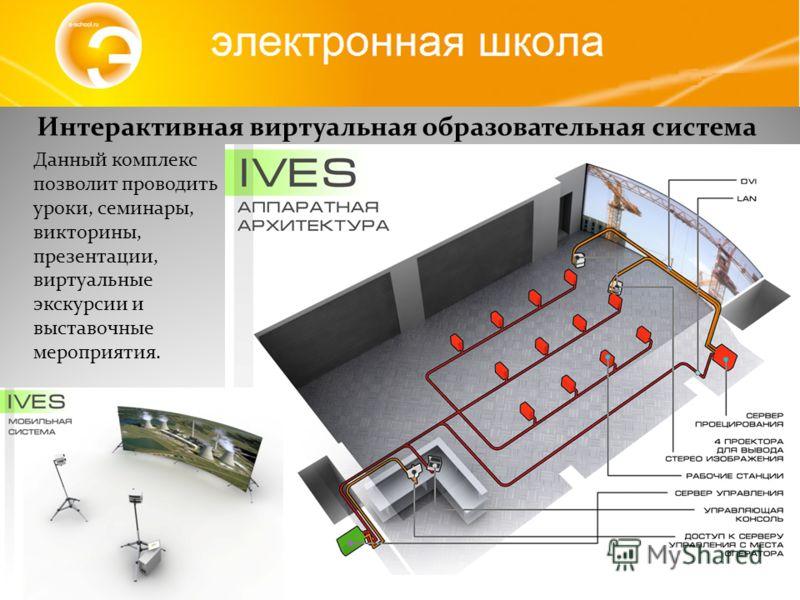 Интерактивная виртуальная образовательная система Данный комплекс позволит проводить уроки, семинары, викторины, презентации, виртуальные экскурсии и выставочные мероприятия.