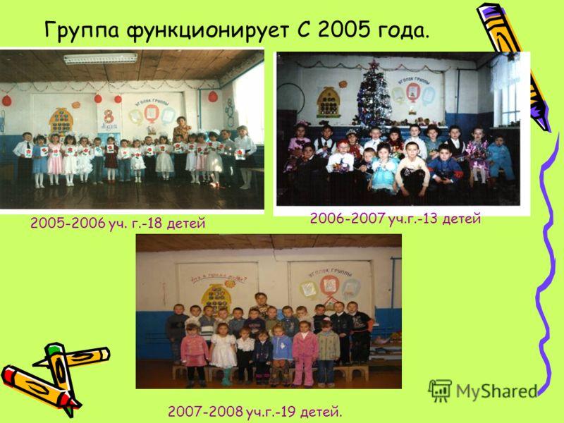 Группа функционирует С 2005 года. 2005-2006 уч. г.-18 детей 2006-2007 уч.г.-13 детей 2007-2008 уч.г.-19 детей.
