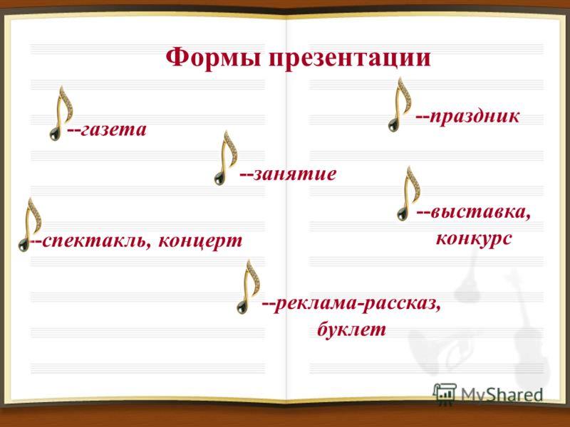 Формы презентации --праздник --газета --спектакль, концерт --занятие --выставка, конкурс --реклама-рассказ, буклет