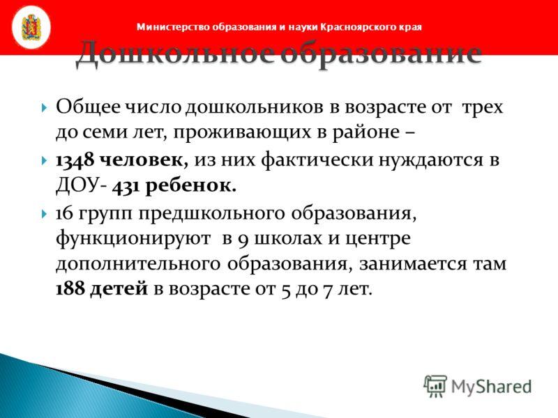 Министерство образования и науки Красноярского края Общее число дошкольников в возрасте от трех до семи лет, проживающих в районе – 1348 человек, из них фактически нуждаются в ДОУ- 431 ребенок. 16 групп предшкольного образования, функционируют в 9 шк