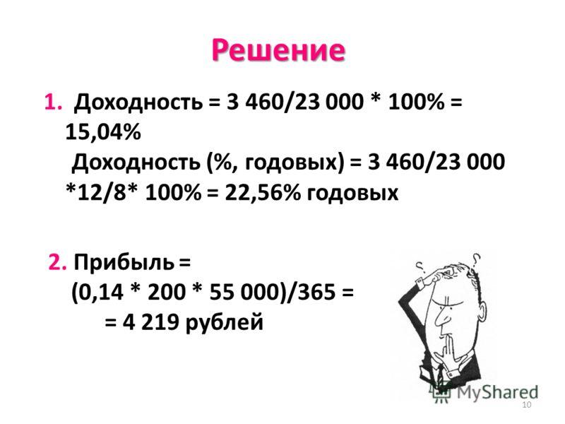 10 Решение 1. Доходность = 3 460/23 000 * 100% = 15,04% Доходность (%, годовых) = 3 460/23 000 *12/8* 100% = 22,56% годовых 2. Прибыль = (0,14 * 200 * 55 000)/365 = = 4 219 рублей