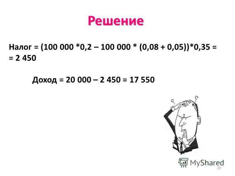 29 Решение Налог = (100 000 *0,2 – 100 000 * (0,08 + 0,05))*0,35 = = 2 450 Доход = 20 000 – 2 450 = 17 550