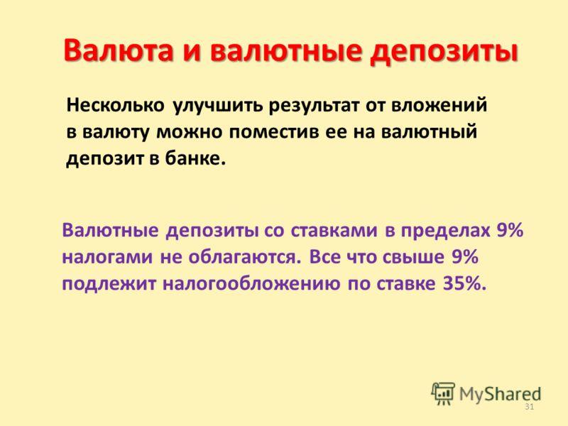 31 Валюта и валютные депозиты Несколько улучшить результат от вложений в валюту можно поместив ее на валютный депозит в банке. Валютные депозиты со ставками в пределах 9% налогами не облагаются. Все что свыше 9% подлежит налогообложению по ставке 35%