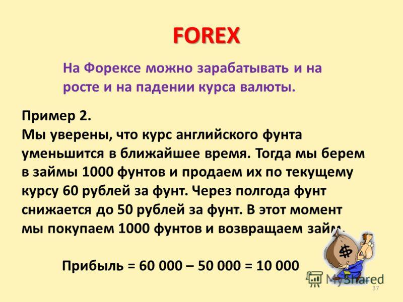 37 FOREX На Форексе можно зарабатывать и на росте и на падении курса валюты. Пример 2. Мы уверены, что курс английского фунта уменьшится в ближайшее время. Тогда мы берем в займы 1000 фунтов и продаем их по текущему курсу 60 рублей за фунт. Через пол