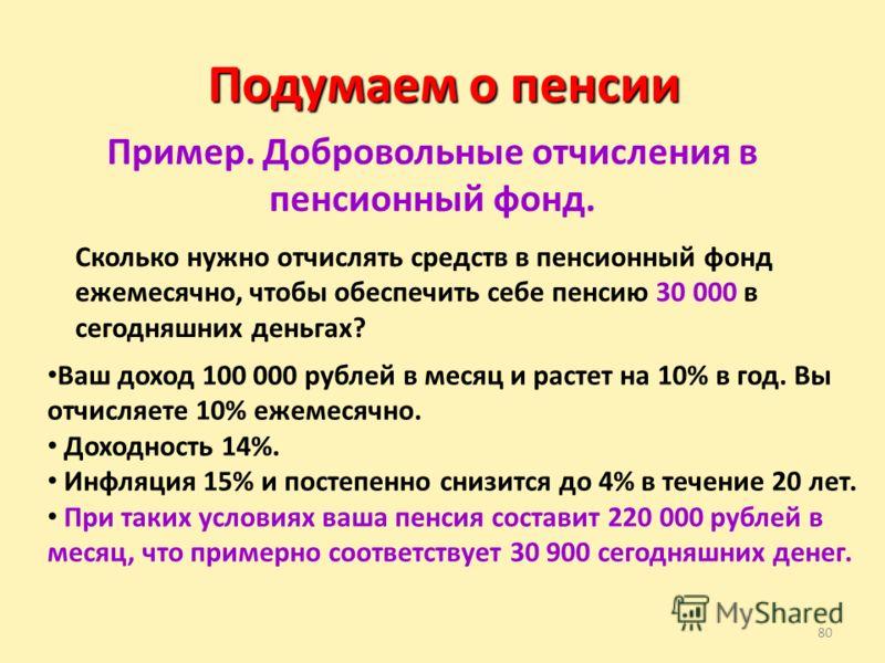 80 Подумаем о пенсии Пример. Добровольные отчисления в пенсионный фонд. Сколько нужно отчислять средств в пенсионный фонд ежемесячно, чтобы обеспечить себе пенсию 30 000 в сегодняшних деньгах? Ваш доход 100 000 рублей в месяц и растет на 10% в год. В