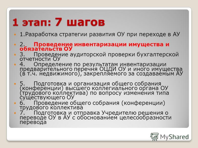 52 1 этап: 7 шагов 1.Разработка стратегии развития ОУ при переходе в АУ 2.Проведение инвентаризации имущества и обязательств ОУ 3.Проведение аудиторской проверки бухгалтерской отчетности ОУ 4.Определение по результатам инвентаризации предварительного