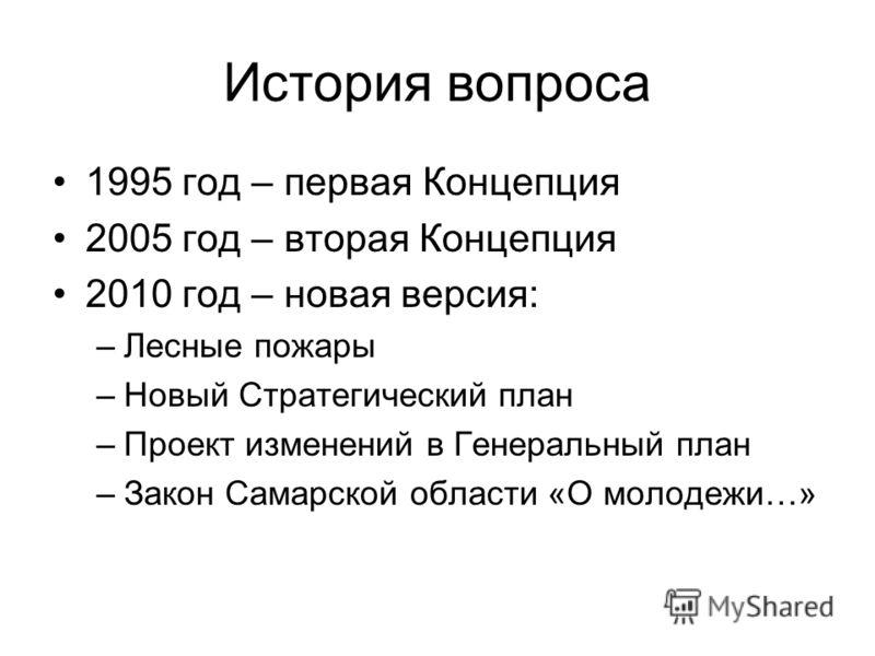 История вопроса 1995 год – первая Концепция 2005 год – вторая Концепция 2010 год – новая версия: –Лесные пожары –Новый Стратегический план –Проект изменений в Генеральный план –Закон Самарской области «О молодежи…»