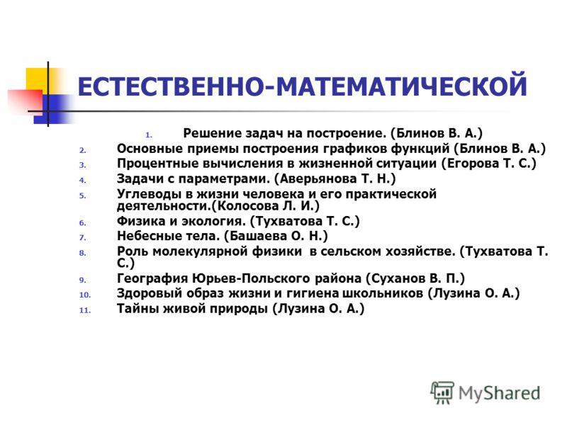 ЕСТЕСТВЕННО-МАТЕМАТИЧЕСКОЙ 1. Решение задач на построение. (Блинов В. А.) 2. Основные приемы построения графиков функций (Блинов В. А.) 3. Процентные вычисления в жизненной ситуации (Егорова Т. С.) 4. Задачи с параметрами. (Аверьянова Т. Н.) 5. Углев