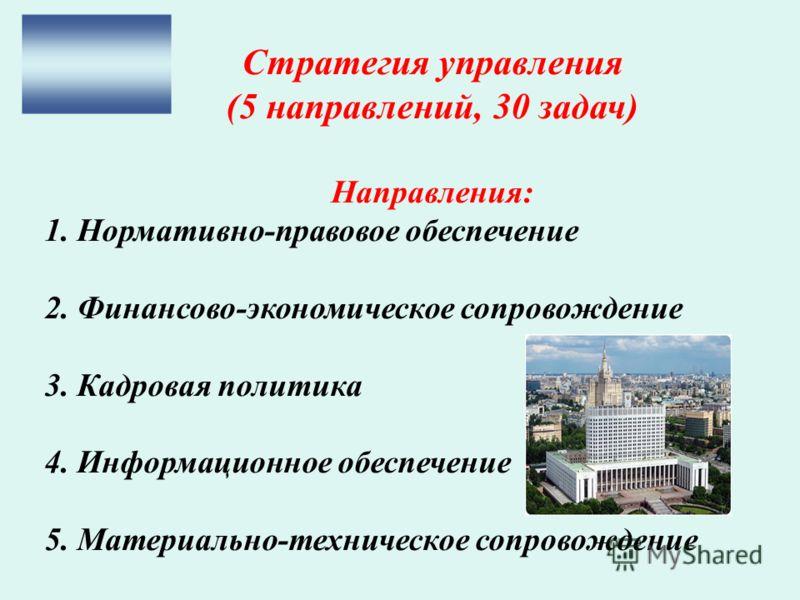 Стратегия управления (5 направлений, 30 задач) Направления: 1. Нормативно-правовое обеспечение 2. Финансово-экономическое сопровождение 3. Кадровая политика 4. Информационное обеспечение 5. Материально-техническое сопровождение