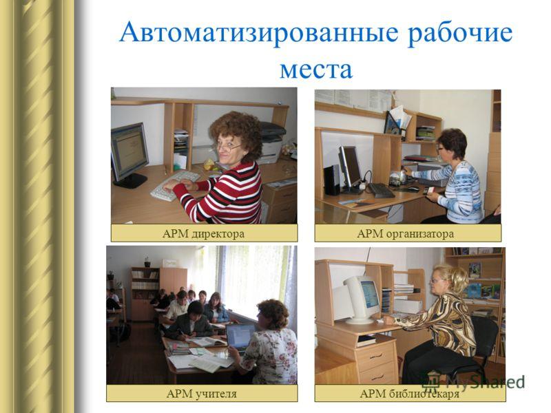 Автоматизированные рабочие места АРМ директора АРМ учителя АРМ организатора АРМ библиотекаря