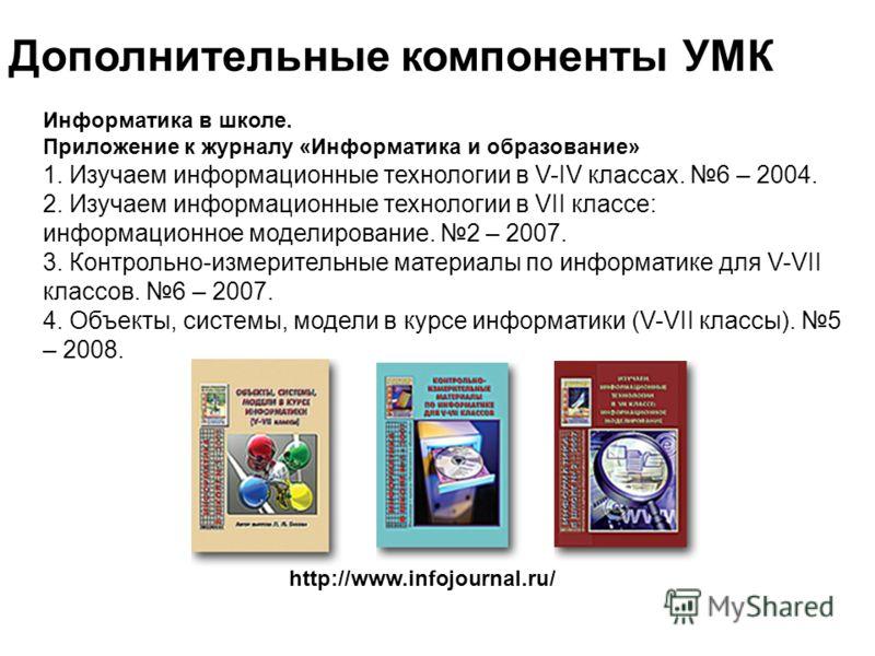 Дополнительные компоненты УМК http://www.infojournal.ru/ Информатика в школе. Приложение к журналу «Информатика и образование» 1. Изучаем информационные технологии в V-IV классах. 6 – 2004. 2. Изучаем информационные технологии в VII классе: информаци