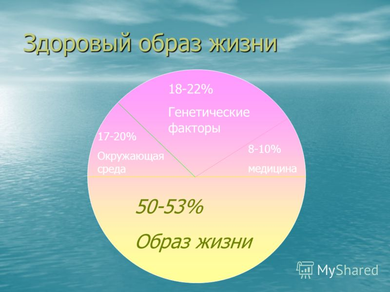 Здоровый образ жизни 50-53% Образ жизни 18-22% Генетические факторы 8-10% медицина 17-20% Окружающая среда