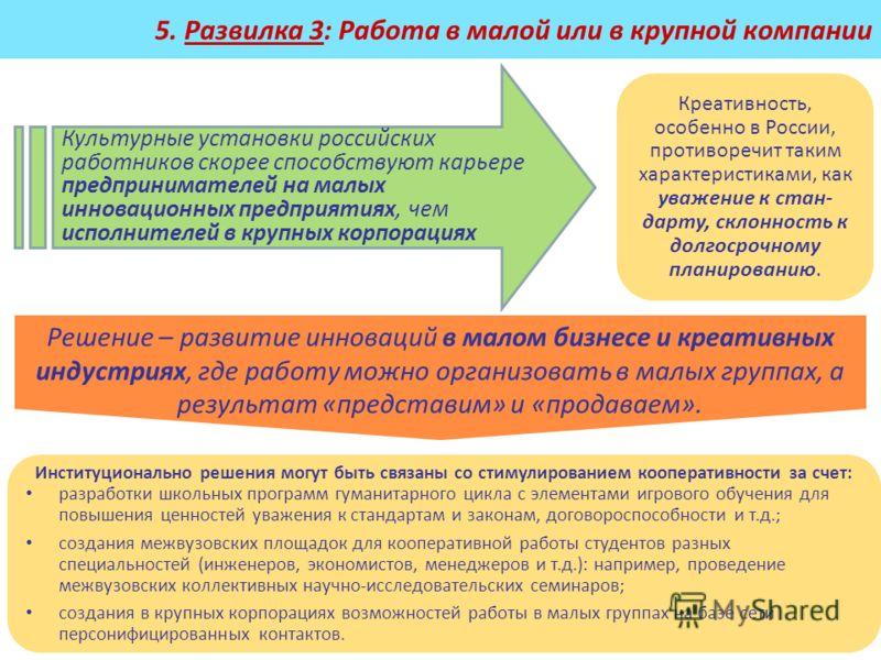 5. Развилка 3: Работа в малой или в крупной компании Креативность, особенно в России, противоречит таким характеристиками, как уважение к стан- дарту, склонность к долгосрочному планированию. Институционально решения могут быть связаны со стимулирова