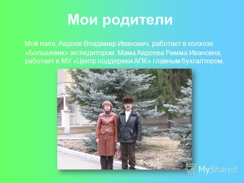 Мой папа, Авдеев Владимир Иванович, работает в колхозе «Большевик» экспедитором. Мама Авдеева Римма Ивановна, работает в МУ «Центр поддержки АПК» главным бухгалтером.