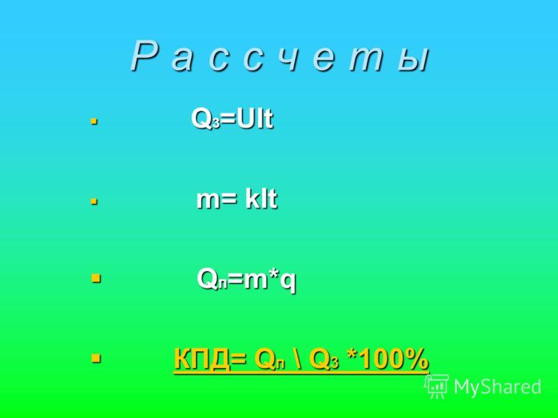 Р а с с ч е т ы Q 3 =UIt Q 3 =UIt m= kIt m= kIt Q п =m*q Q п =m*q КПД= Q п \ Q 3 *100% КПД= Q п \ Q 3 *100%КПД= Q п \ Q 3 *100%КПД= Q п \ Q 3 *100%