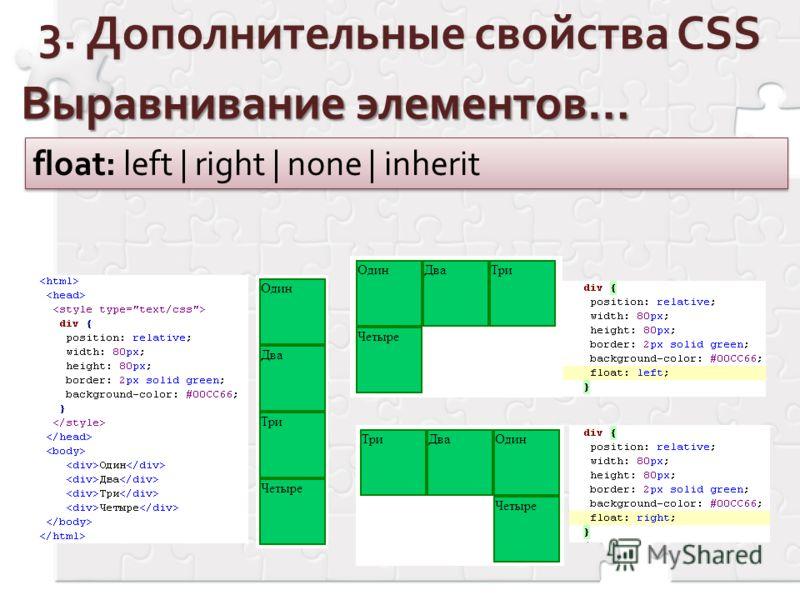 Выравнивание элементов… float: left | right | none | inherit