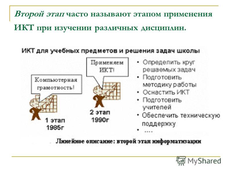 Второй этап часто называют этапом применения ИКТ при изучении различных дисциплин.