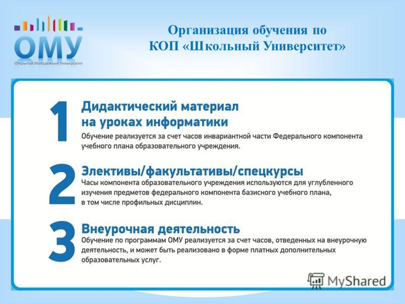 . Организация обучения по КОП «Школьный Университет»