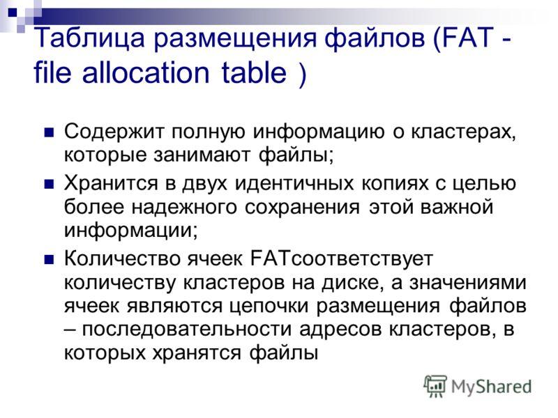Таблица размещения файлов (FAT - file allocation table ) Содержит полную информацию о кластерах, которые занимают файлы; Хранится в двух идентичных копиях с целью более надежного сохранения этой важной информации; Количество ячеек FATсоответствует ко