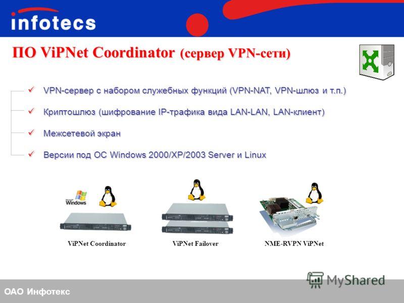 ОАО Инфотекс ПО ViPNet Coordinator (сервер VPN-сети) VPN-сервер с набором служебных функций (VPN-NAT, VPN-шлюз и т.п.) VPN-сервер с набором служебных функций (VPN-NAT, VPN-шлюз и т.п.) Криптошлюз (шифрование IP-трафика вида LAN-LAN, LAN-клиент) Крипт