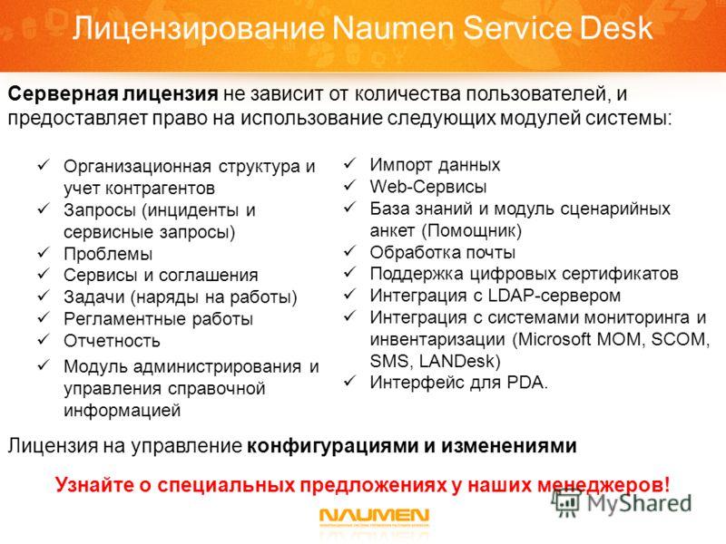 Лицензирование Naumen Service Desk Организационная структура и учет контрагентов Запросы (инциденты и сервисные запросы) Проблемы Сервисы и соглашения Задачи (наряды на работы) Регламентные работы Отчетность Модуль администрирования и управления спра