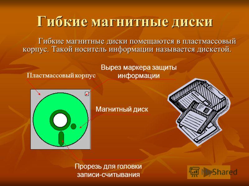 Гибкие магнитные диски Гибкие магнитные диски помещаются в пластмассовый корпус. Такой носитель информации называется дискетой. Пластмассовый корпус Вырез маркера защиты информации Магнитный диск Прорезь для головки записи-считывания