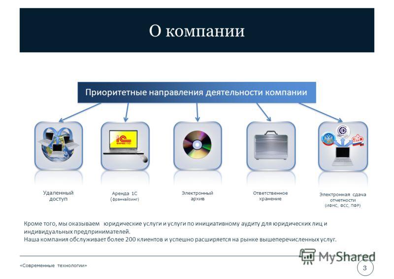 О компании «Современные технологии» 3 Приоритетные направления деятельности компании Удаленный доступ Электронный архив Аренда 1С ( франчайзинг) Электронная сдача отчетности (ИФНС, ФСС, ПФР) Кроме того, мы оказываем юридические услуги и услуги по ини