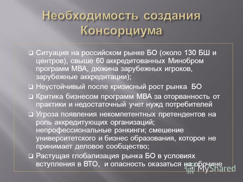 Ситуация на российском рынке БО (около 130 БШ и центров), свыше 60 аккредитованных Минобром программ МВА, дюжина зарубежных игроков, зарубежные аккредитации); Неустойчивый после кризисный рост рынка БО Критика бизнесом программ МВА за оторванность от