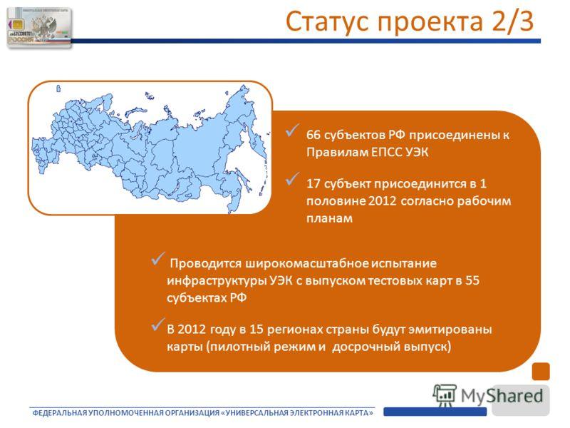 ФЕДЕРАЛЬНАЯ УПОЛНОМОЧЕННАЯ ОРГАНИЗАЦИЯ «УНИВЕРСАЛЬНАЯ ЭЛЕКТРОННАЯ КАРТА» 66 субъектов РФ присоединены к Правилам ЕПСС УЭК 17 субъект присоединится в 1 половине 2012 согласно рабочим планам Проводится широкомасштабное испытание инфраструктуры УЭК с вы