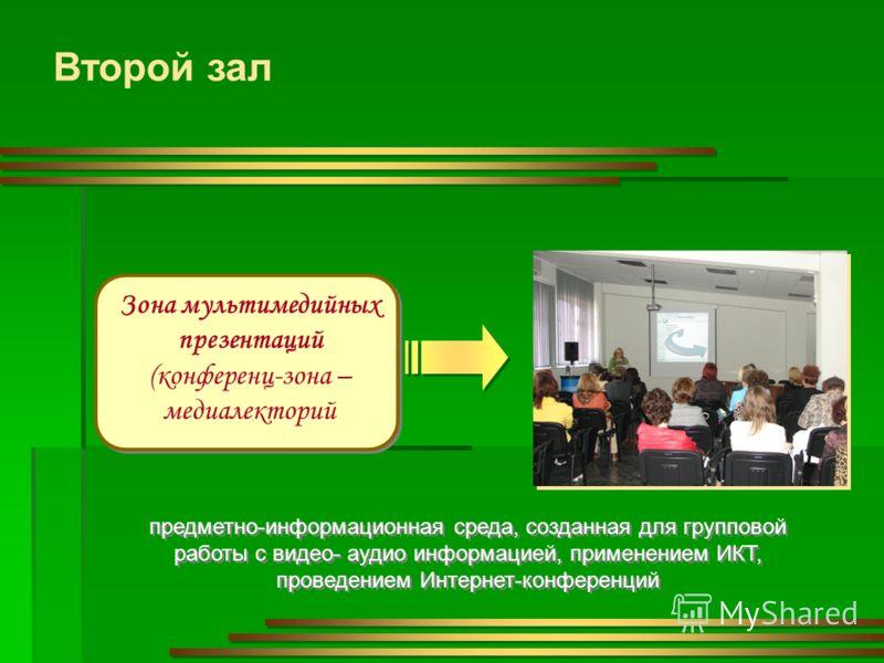 Второй зал Зона мультимедийных презентаций (конференц-зона – медиалекторий предметно-информационная среда, созданная для групповой работы с видео- аудио информацией, применением ИКТ, проведением Интернет-конференций