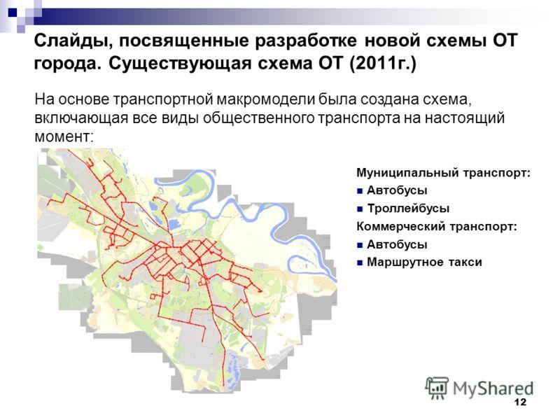 12 Cлайды, посвященные разработке новой схемы ОТ города. Существующая схема ОТ (2011г.) На основе транспортной макромодели была создана схема, включающая все виды общественного транспорта на настоящий момент: Муниципальный транспорт: Автобусы Троллей