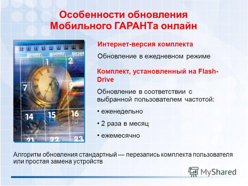 Особенности обновления Мобильного ГАРАНТа онлайн Комплект, установленный на Flash- Drive Обновление в соответствии с выбранной пользователем частотой: еженедельно 2 раза в месяц ежемесячно Алгоритм обновления стандартный перезапись комплекта пользова