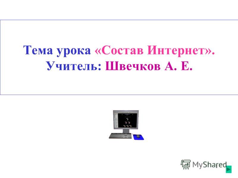 1 Тема урока «Состав Интернет». Учитель: Швечков А. Е.