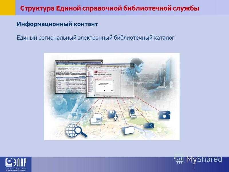 Структура Единой справочной библиотечной службы Информационный контент Единый региональный электронный библиотечный каталог