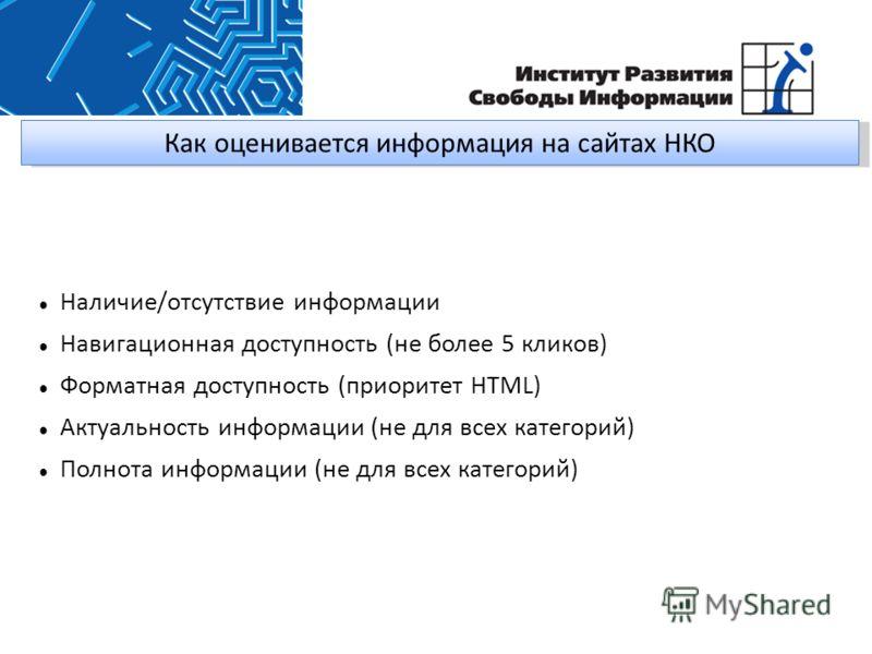 Как оценивается информация на сайтах НКО Наличие/отсутствие информации Навигационная доступность (не более 5 кликов) Форматная доступность (приоритет HTML) Актуальность информации (не для всех категорий) Полнота информации (не для всех категорий)
