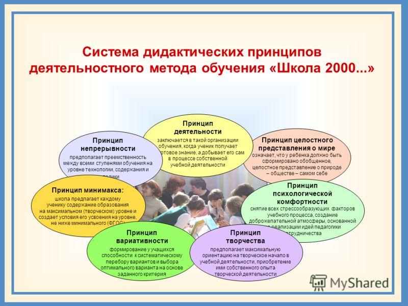 Система дидактических принципов деятельностного метода обучения «Школа 2000...» Принцип целостного представления о мире означает, что у ребенка должно быть сформировано обобщенное, целостное представление о природе – обществе – самом себе Принцип дея