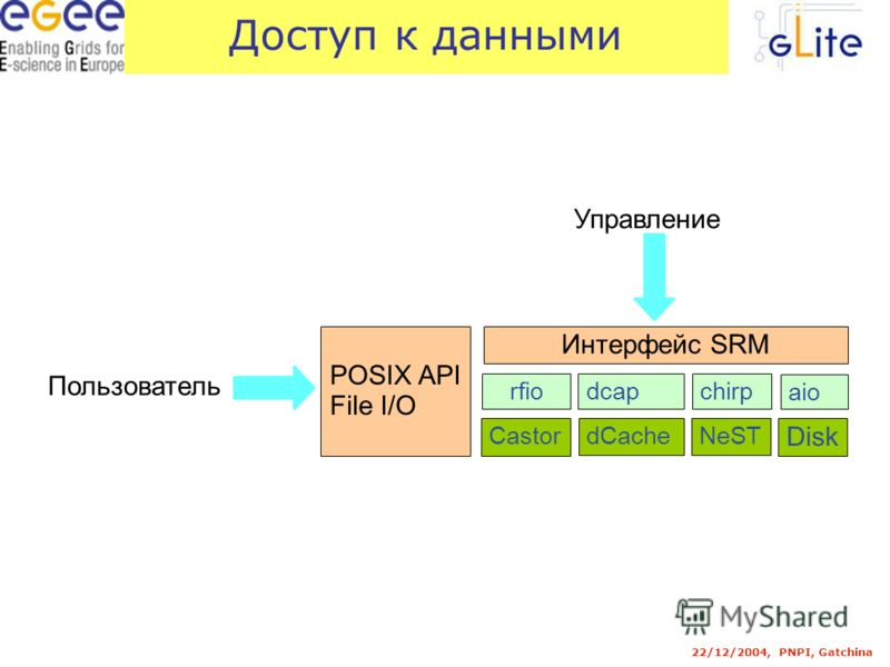 22/12/2004, PNPI, Gatchina Доступ к данными Интерфейс SRM rfiodcapchirp aio Castor dCacheNeST Disk POSIX API File I/O Управление Пользователь